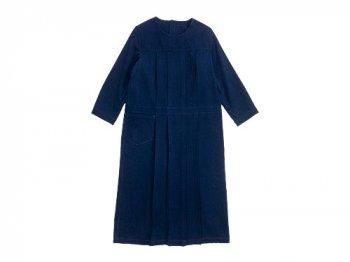 Lin francais d'antan Cocteau tuck apron dress NAVY
