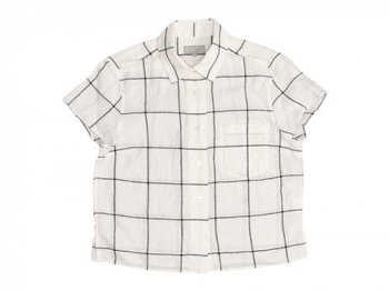 MARGARET HOWELL LARGE WINDOWPEN LINEN S/S SHIRTS 030WHITE 〔レディース〕