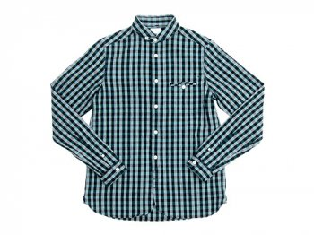 maillot sunset big gingham round work shirts BIG BLUE x GREEN