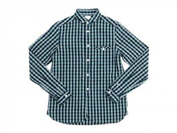 maillot sunset big gingham round work shirts BIG BLUE x GREEN