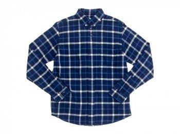 nisica 長袖ボタンダウンシャツ チェック BLUE