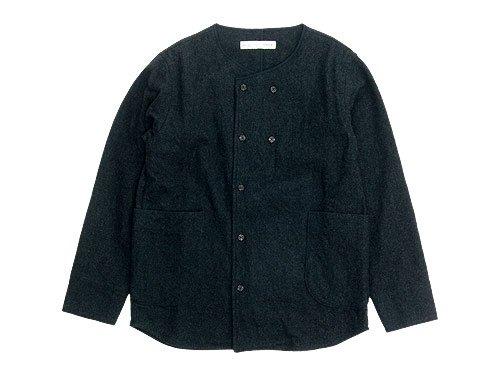 nisica 長袖ノーカラーダブルボタンシャツ / デッキマンシャツ 長袖
