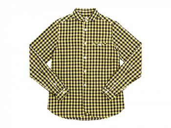 maillot sunset big gingham round work shirts BIG BROWN x YELLOW