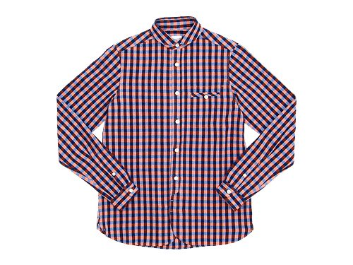 maillot sunset big gingham round work shirts BIG BLUE x ORANGE