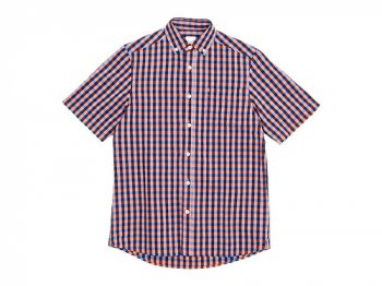 maillot sunset big gingham B.D. S/S shirts BIG BLUE x ORANGE