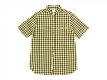 maillot sunset big gingham round work S/S shirts BIG BROWN x YELLOW
