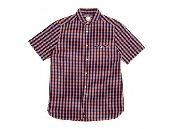maillot sunset big gingham round work S/S shirts BIG BLUE x ORANGE