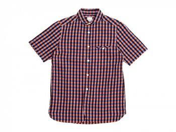 maillot sunset big gingham round work S/S shirts BIG BLUE x ORANGE