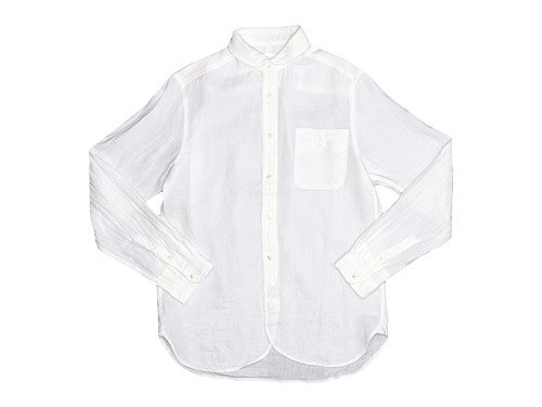 maillot sunset linen round work shirts WHITE