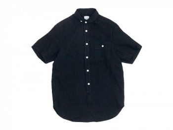 maillot sunset linen round work S/S shirts BLACK