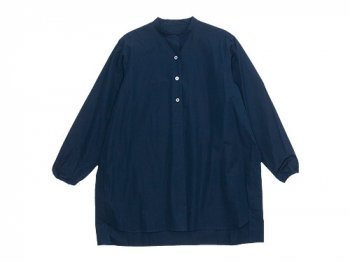 Lin francais d'antan Appel Stand Collar P/O Long Shirts NAVY