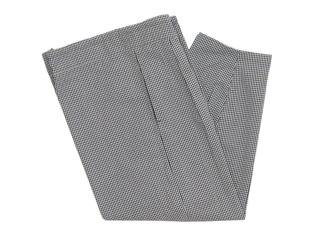 Lin francais d'antan Barouh Easy Pants WHITE x BLACK CHECK