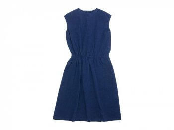 Lin francais d'antan Bigot(ビゴー) gathered one-piece NAVY