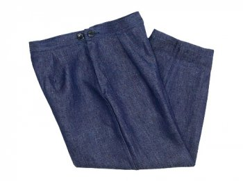 Lin francais d'antan Salvador(サルヴァドール) tack pants Hemp DARK INDIGO