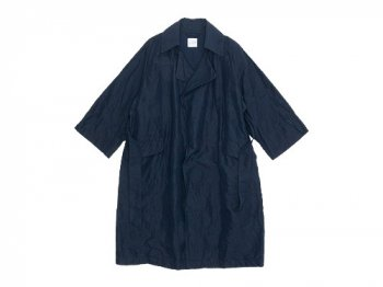 TOUJOURS Over Sized Wide Sleeve Wrap Coat NAVY