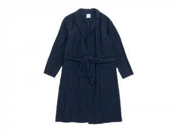 TOUJOURS Tailored Collar Robe Coat NAVY