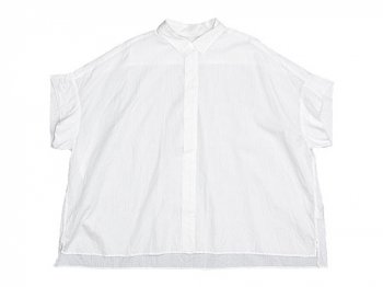 TOUJOURS Short Sleeve Wide Shirts SMOKE WHITE