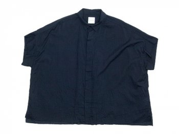 TOUJOURS Short Sleeve Wide Shirts BLACK NAVY