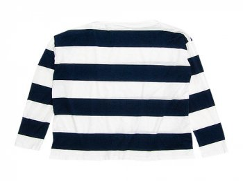 TOUJOURS Boat Neck Shirt WHITE x NAVY