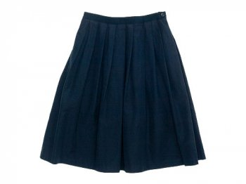 MARGARET HOWELL YARN DYED COTTON LINEN SKIRT 120NAVY 〔レディース〕