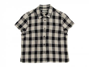 MARGARET HOWELL LINEN TARTAN CHECK S/S SHIRTS 010BLACK〔レディース〕