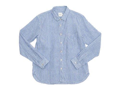 RINEN 80/1リネン平織ストライプ レギュラーカラーシャツ 15シロ x ブルー〔メンズ〕