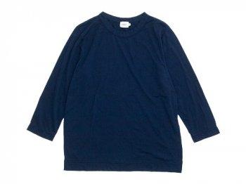 RINEN 100/2天竺 七分袖ラウンドネックTシャツ 05ネイビー〔メンズ〕