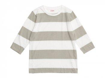 homspun 30/-天竺太ボーダー 七分袖Tシャツ サラシ x ライトグレー