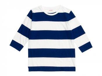 homspun 30/-天竺太ボーダー 七分袖Tシャツ サラシ x ブルー