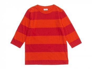 homspun 30/-天竺太ボーダー 七分袖Tシャツ オレンジ x レッド