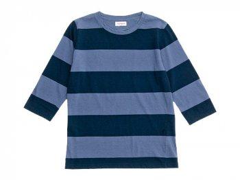 homspun 30/-天竺太ボーダー 七分袖Tシャツ ブルーグレー x チャコール