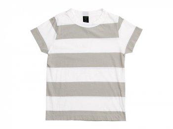 homspun 30/-天竺太ボーダー 半袖Tシャツ サラシ x ライトグレー