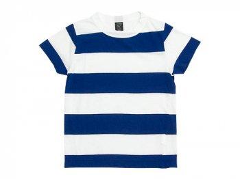homspun 30/-天竺太ボーダー 半袖Tシャツ サラシ x ブルー