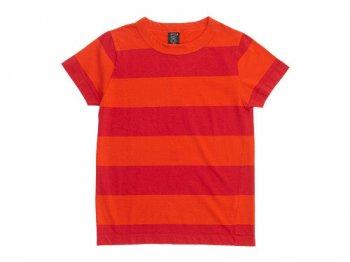 homspun 30/-天竺太ボーダー 半袖Tシャツ オレンジ x レッド