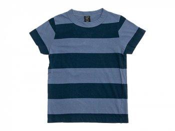 homspun 30/-天竺太ボーダー 半袖Tシャツ ブルーグレー x チャコール
