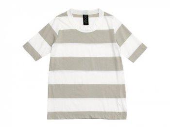 homspun 30/-天竺太ボーダー 五分袖Tシャツ サラシ x ライトグレー