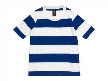 homspun 30/-天竺太ボーダー 五分袖Tシャツ サラシ x ブルー
