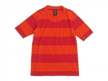 homspun 30/-天竺太ボーダー 五分袖Tシャツ オレンジ x レッド