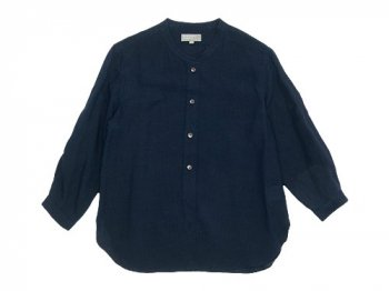 MARGARET HOWELL FINE LINEN NO COLLAR SHIRTS 120NAVY〔レディース〕