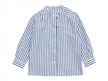 MARGARET HOWELL BOLD STRIPE NO COLLAR SHIRTS 110BLUE〔レディース〕