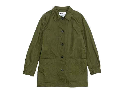 MHL. JAPANESE DRILL JACKET / COTTON WORK STRIPE NO COLLAR SHIRTS