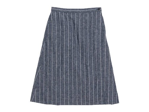 MHL. ROUGH COTTON LINEN SHIRTING SKIRT 123NAVY 〔レディース〕