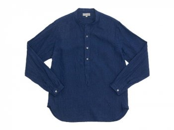MARGARET HOWELL SOLID LINEN NO COLLAR P/O SHIRTS 120NAVY 〔メンズ〕