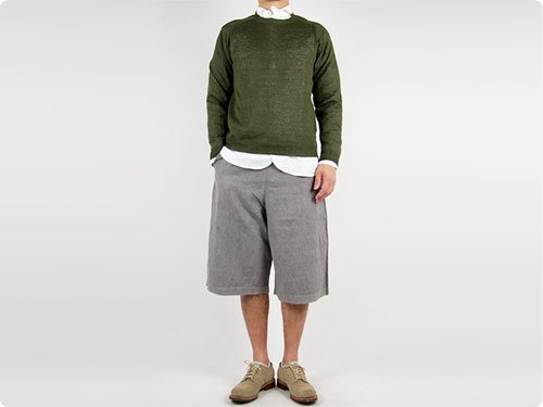 MARGARET HOWELL MELANGE LINEN KNIT 180DARK OLIVE 〔メンズ〕