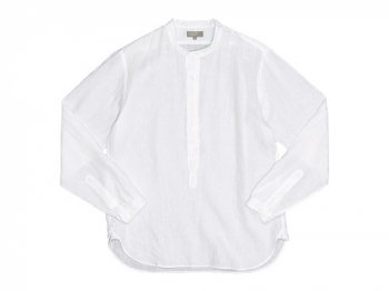 MARGARET HOWELL SHIRTING LINEN NO COLLAR P/O SHIRTS 030WHITE 〔メンズ〕