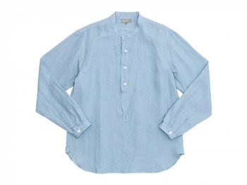 MARGARET HOWELL SHIRTING LINEN NO COLLAR P/O SHIRTS 112BLUE 〔メンズ〕