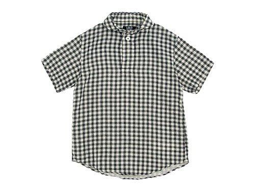 LOLO ギンガムコットン半袖プルオーバーシャツ BLACK