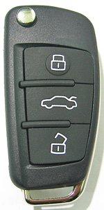 アフターマーケット製・アウディ・新型3ボタン・スイッチブレード・リモコン・交換用シェル