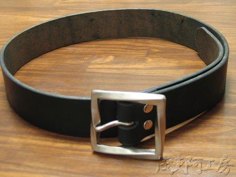 【ベンズプレーンバックルベルト ブラック】4.5mm厚 bpb_belt_bk 画像2